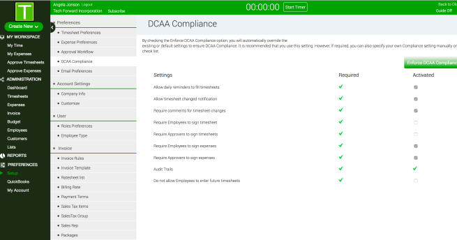 DCAA Compliant Time Tracking